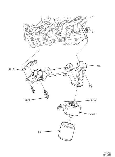ford 6 8l v 10 engine blue oval trucks Ford Mustang Transmission Diagram if you have an oil leak from the drivers side of the engine block it may be ing from the seal between the engine block and oil cooler adapter