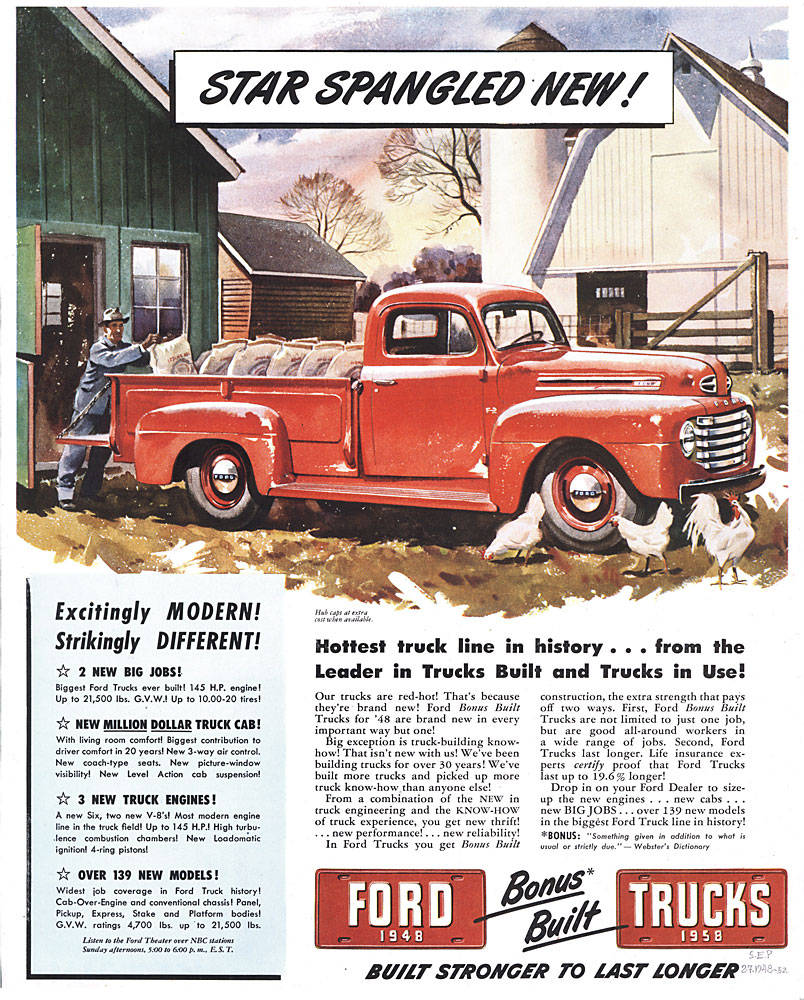 1940 1949 Vintage Truck Ads Blue Oval Trucks 48 Ford Pu Wiring