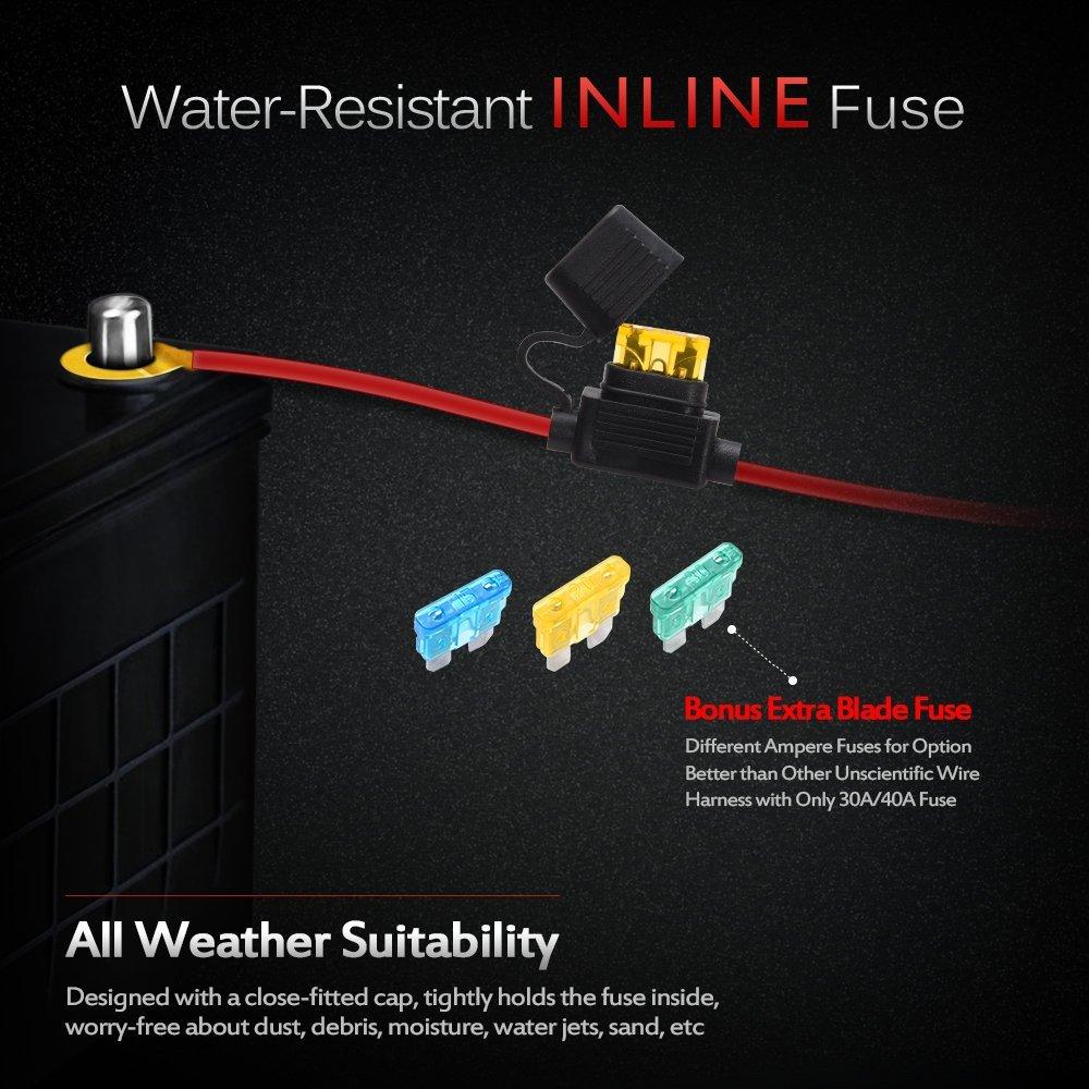 MICTUNING HD+ 12 Gauge 600W LED Light Bar Wiring Harness Kit w ...